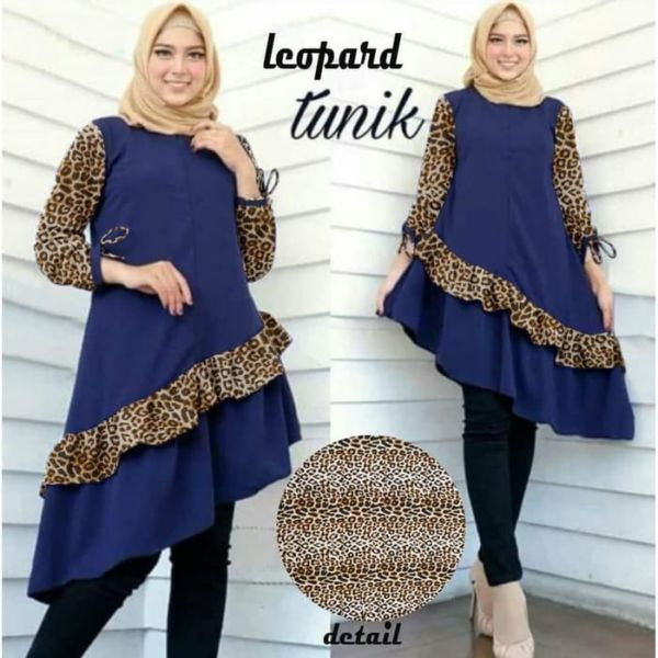 Baju Atasan Terbaru Motif Leopard Lengan Panjang