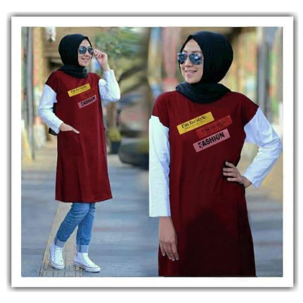 Baju Atasan Wanita Tunik Warna Kombinasi