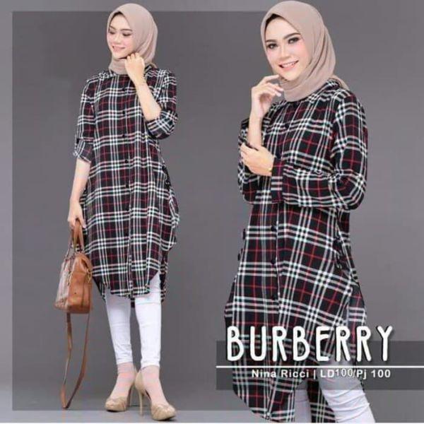 Model Baju Tunik Atasan Wanita Motif Burberry