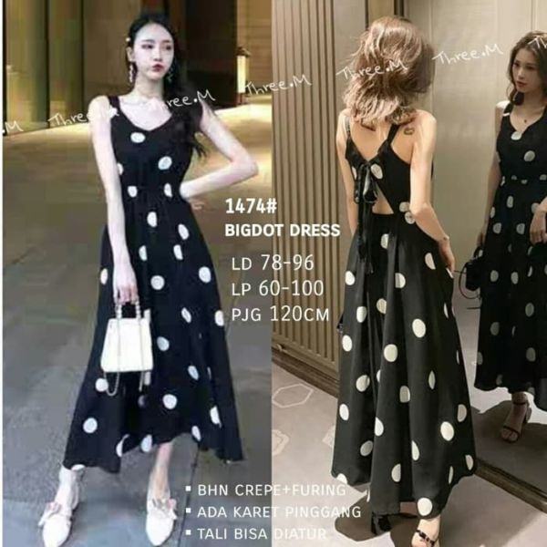 Baju Maxy Long Dress Panjang Motif Polkadot