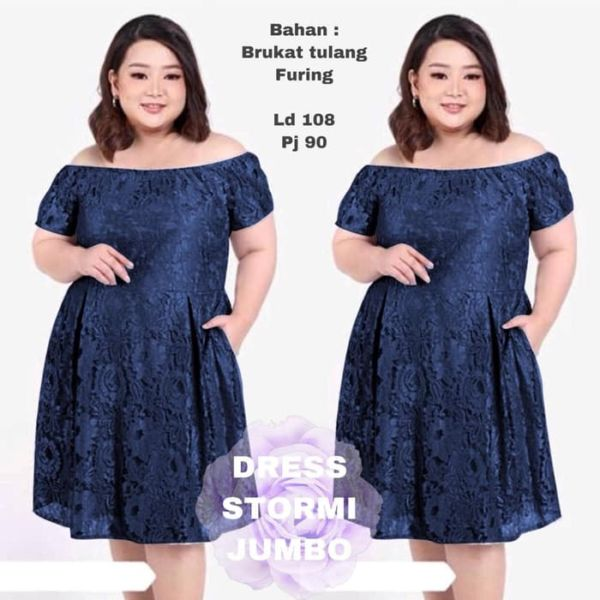 Baju Mini Dress Brukat Ukuran Jumbo Big Size