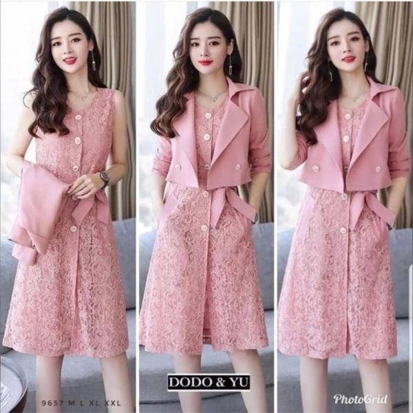 Baju Mini Dress Brukat dan Blazer Ala Korea