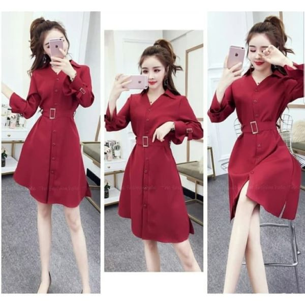 Baju Mini Dress Full Kancing Model Terbaru