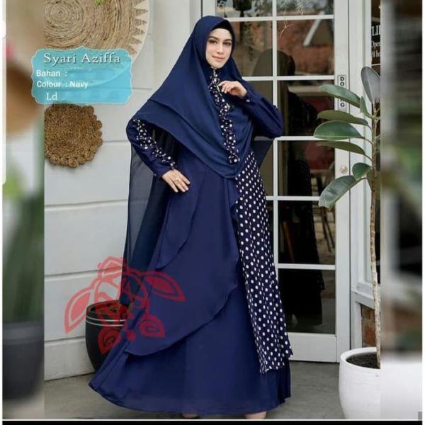 Model Baju Setelan Gamis Syari Polkadot Terbaru