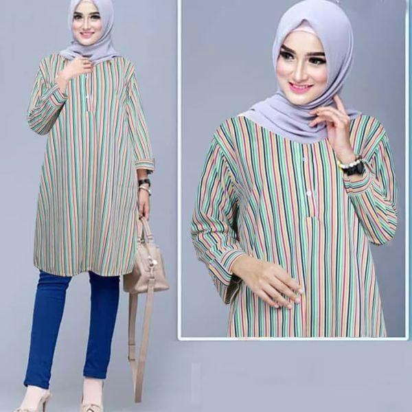 Baju Tunik Panjang Motif Garis Model Terbaru
