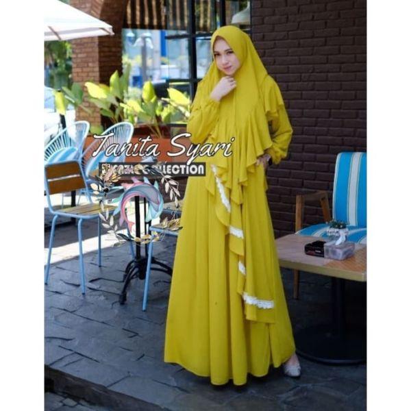 Setelan Baju Gamis dan Jilbab Bergo Syari Modern