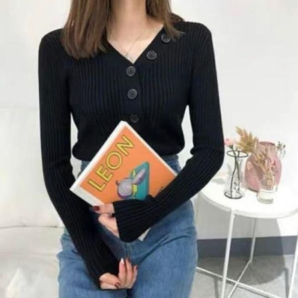 Baju Atasan Wanita Blouse Rajut Lengan Panjang