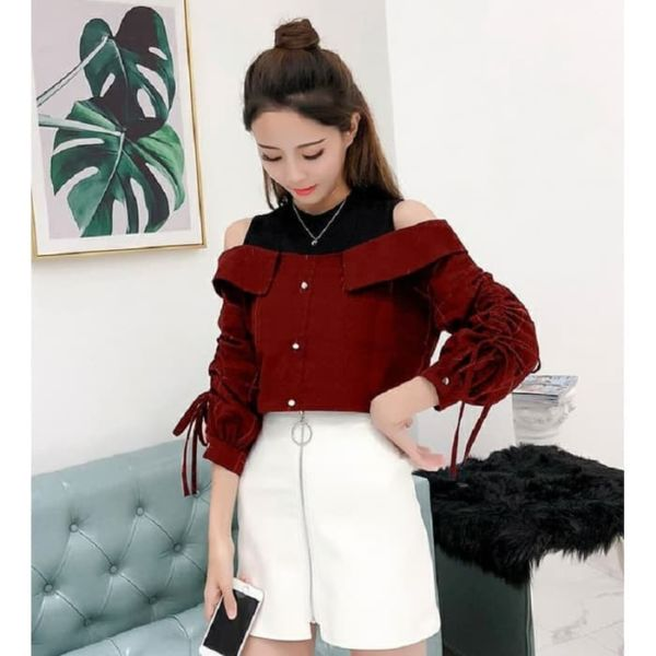 Baju Atasan Wanita Model Bahu Bolong Terbaru