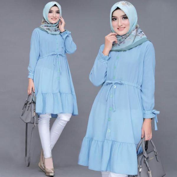 Baju Atasan Wanita Tunik Muslim Polos Modern