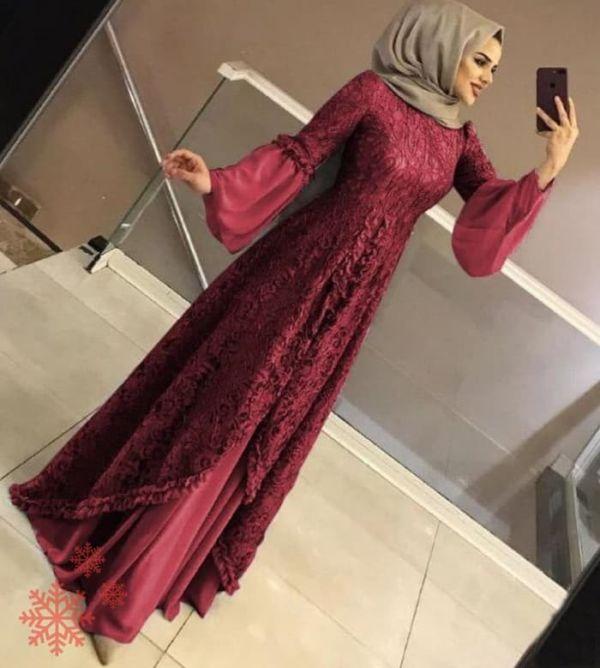 Baju Gamis Long Dress Pesta Muslim Brukat