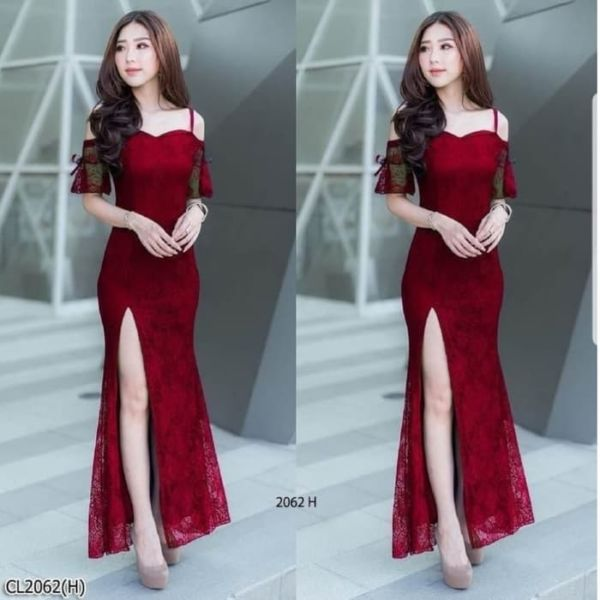 Baju Gaun Long Dress Pesta Brukat Belah Samping
