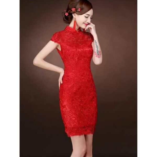 Baju Mini Dress Cheongsam Cantik Bahan Brukat