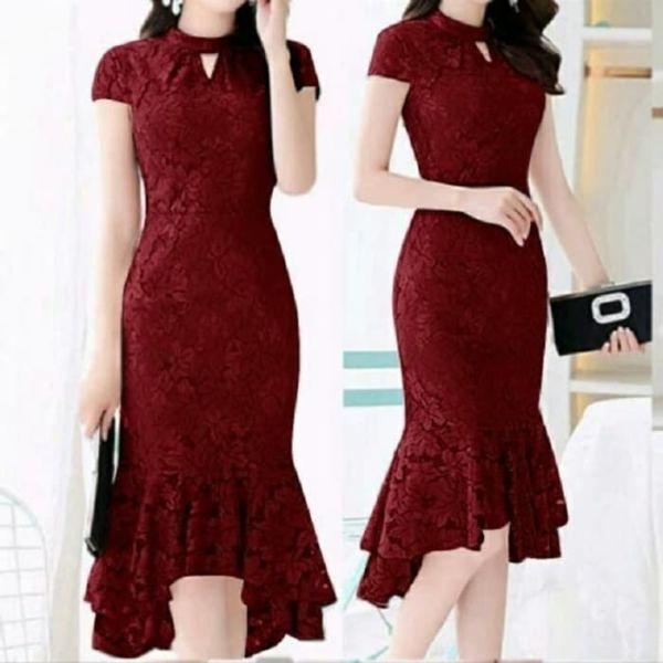 Baju Mini Dress Pesta Bahan Brukat Modern