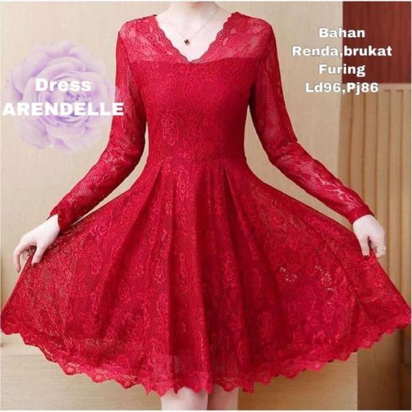 Baju Mini Dress Pesta Brukat Lengan Panjang