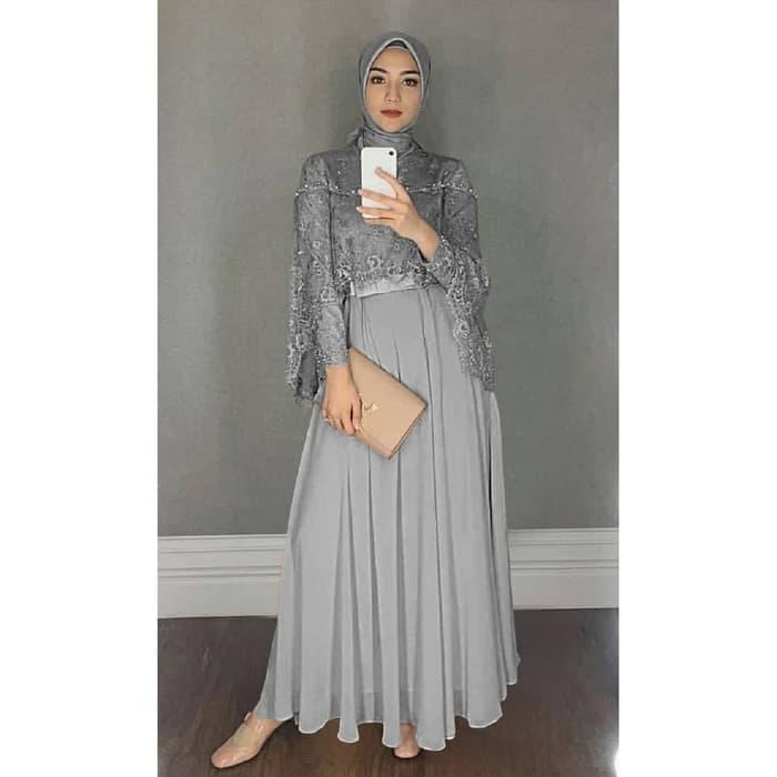 Model Baju Gamis Terbaru Kombinasi Tile Cantik Warna Abu abu