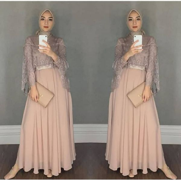 Model Baju Gamis Terbaru Kombinasi Tile Cantik