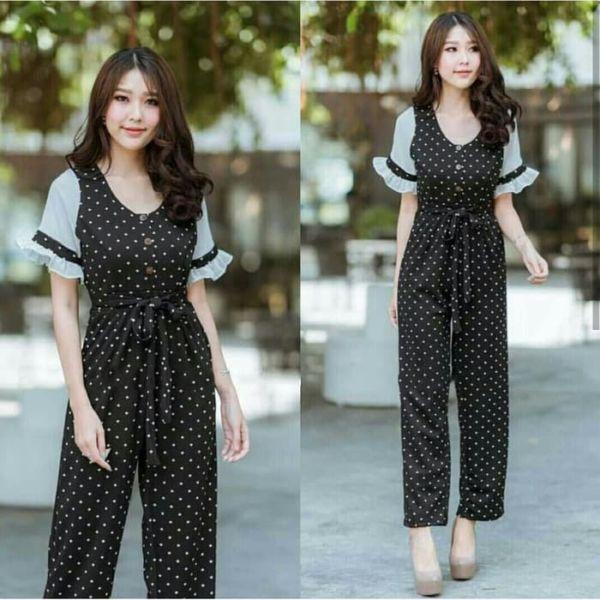 Model Baju Jumpsuit Panjang Motif Polkadot