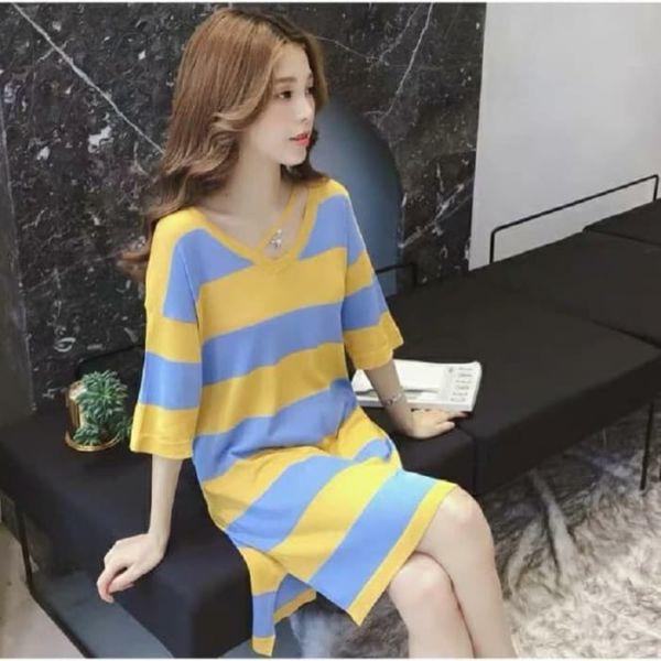 Model Baju Mini Dress Motif Salur Belang