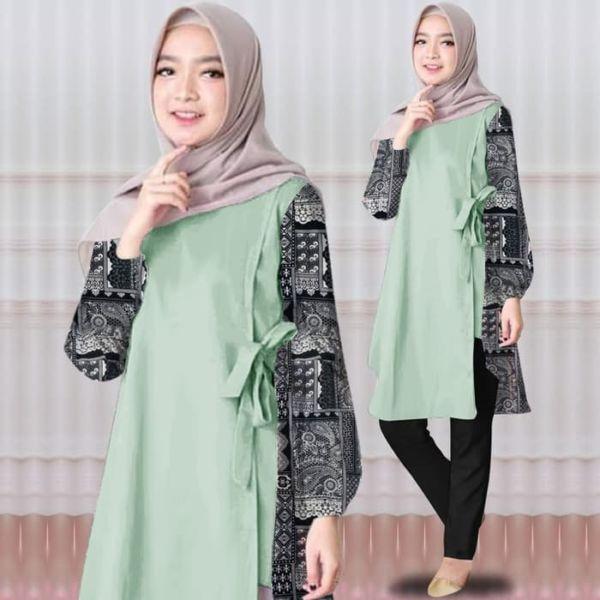 Model Baju Tunik Blouse Muslim Kombinasi Batik