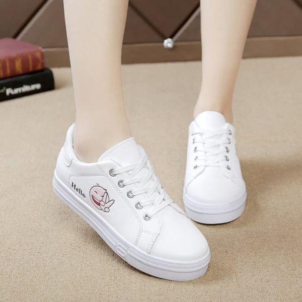 Sepatu Kets Tali Cewek Warna Putih Keren