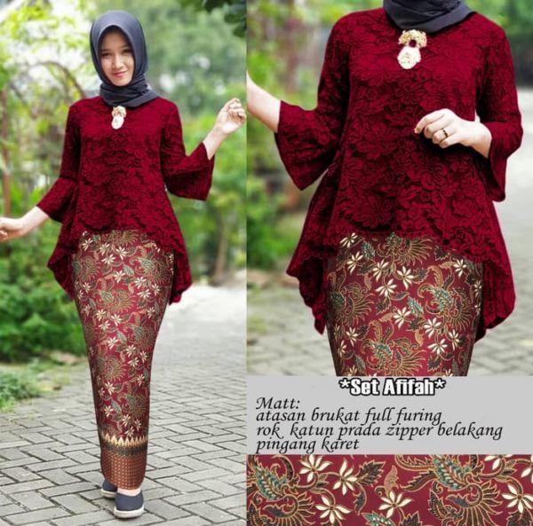 Setelan Baju Kebaya Brukat dan Rok Span Batik