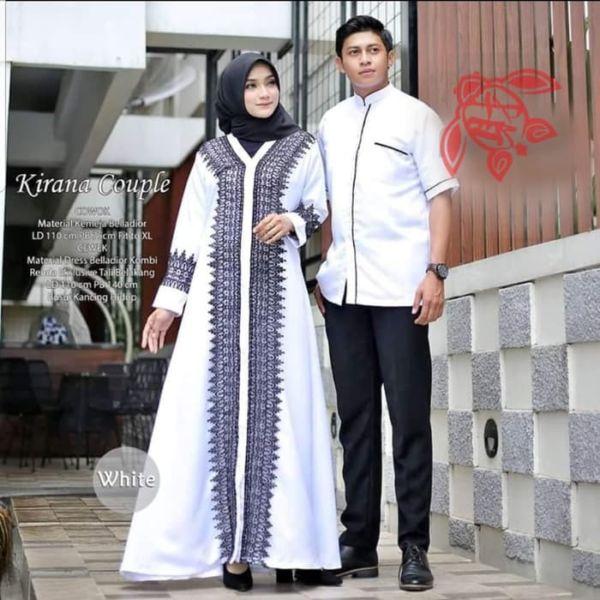 Baju Couple Gamis Renda dan Kemeja Muslim