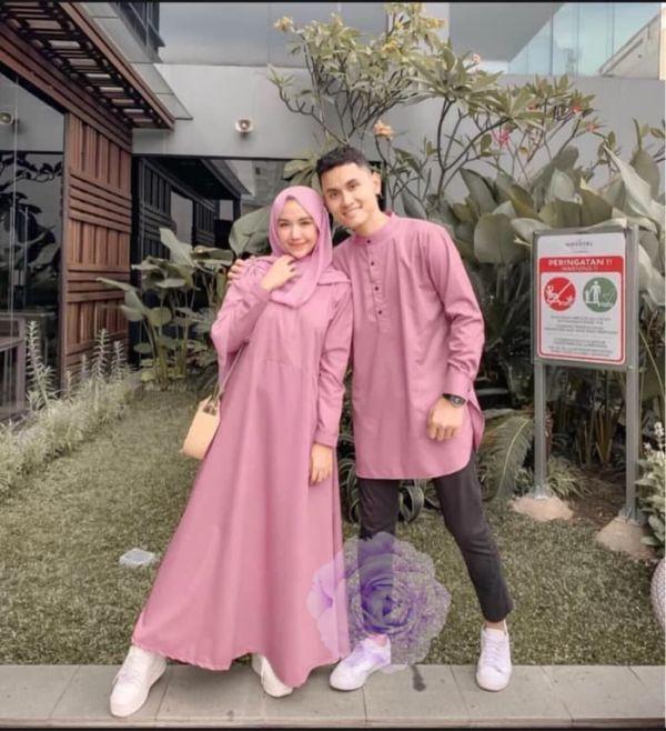 Baju Couple Gamis dan Koko Lengan Panjang Modern