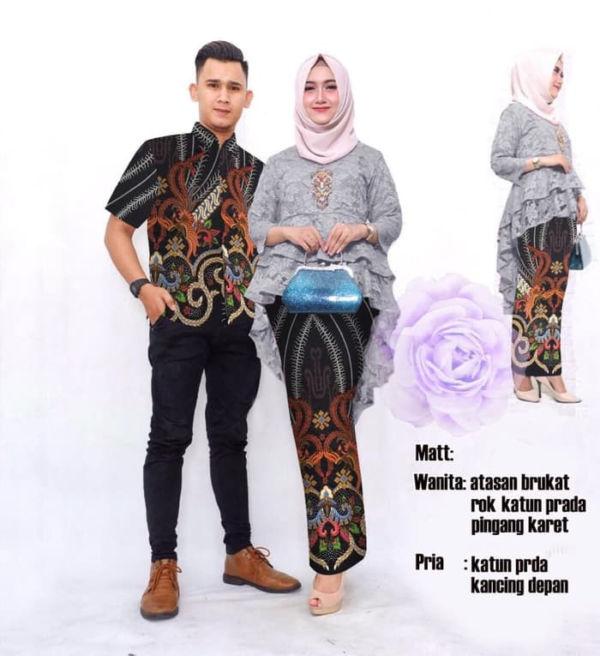 Baju Couple Setelan Kebaya Brukat dan Kemeja Batik
