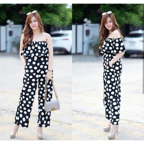 Baju Jumpsuit Panjang Model Sabrina Polkadot