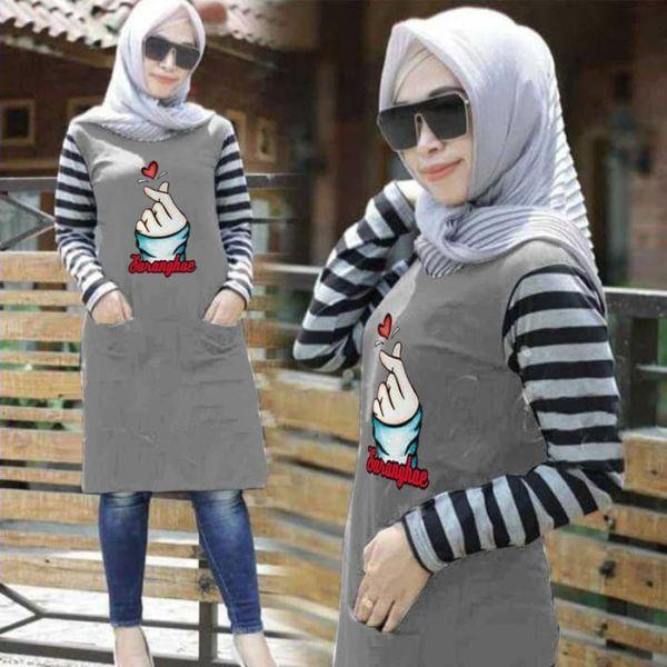 Baju Tunik Muslim Motif Salur Belang Model Terbaru