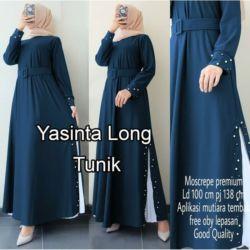 Model Baju Long Tunik Slit Atasan Wanita Terbaru
