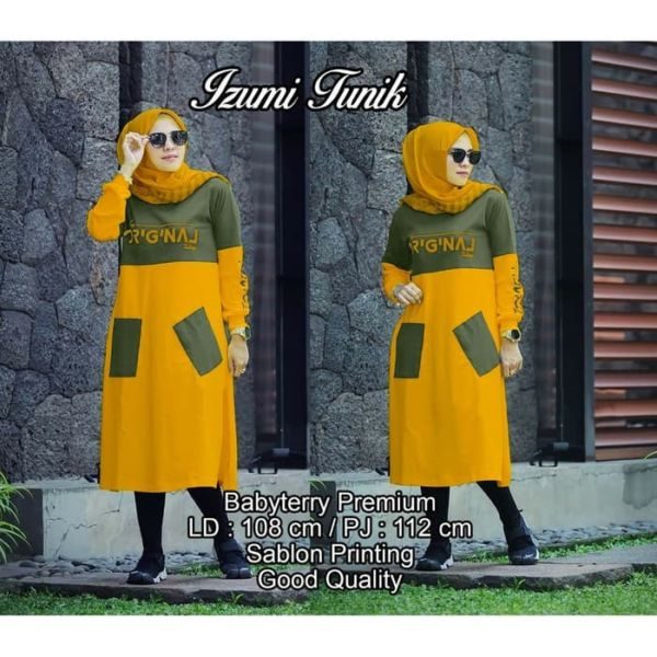 Model Baju Tunik Terbaru Kombinasi Dua Warna