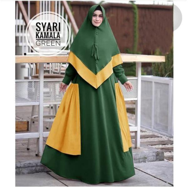 Model Setelan Baju Gamis Syari Kombinasi Warna