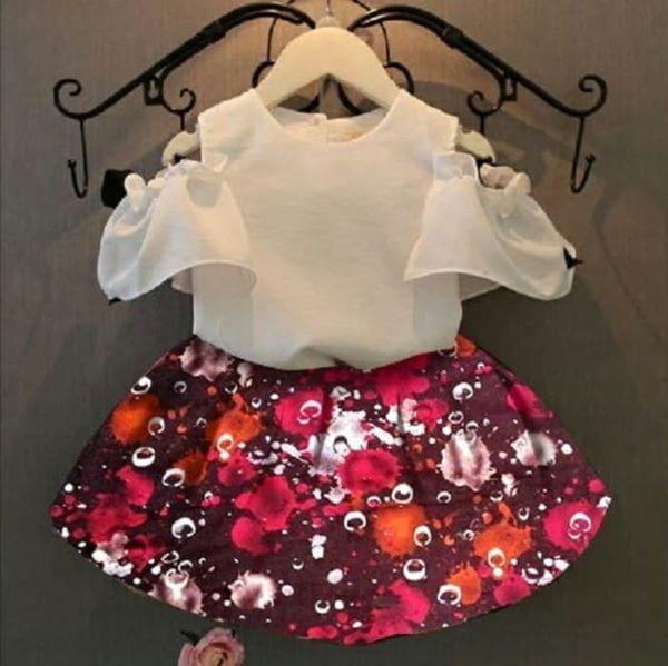 Setelan Baju Bahu Bolong dan Rok Anak Perempuan