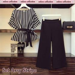 Setelan Baju Belang dan Celana Wanita Modern