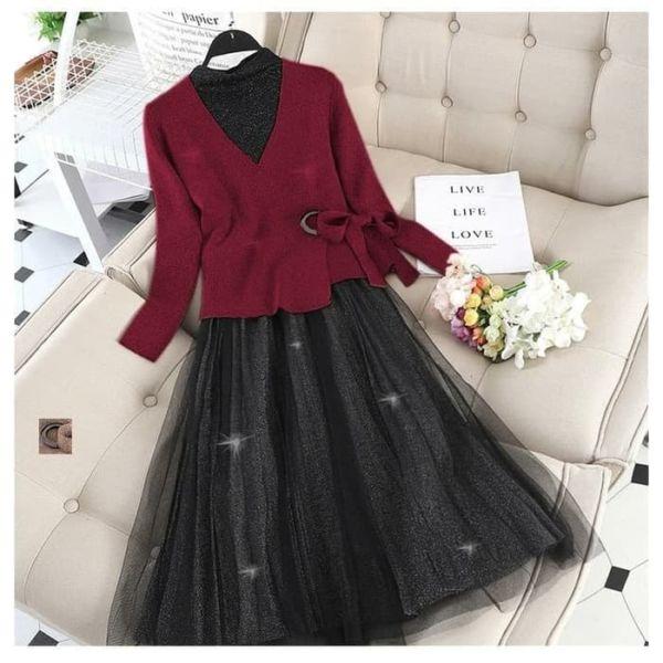 Setelan Baju Dress Tutu dan Cardigan Cantik Modern
