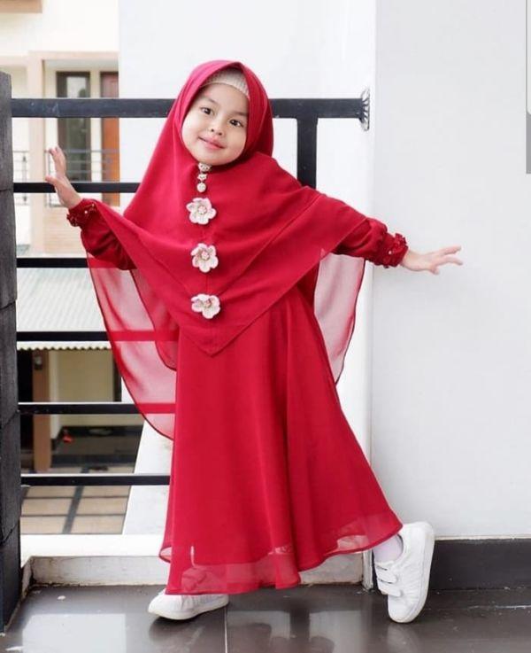 Setelan Baju Gamis Syari Anak Perempuan Modern
