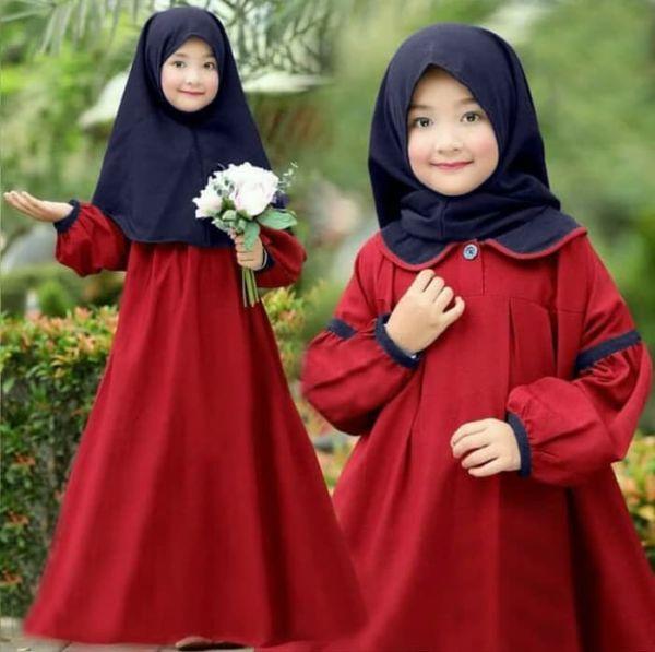 Setelan Baju Gamis dan Jilbab Anak Perempuan Modern