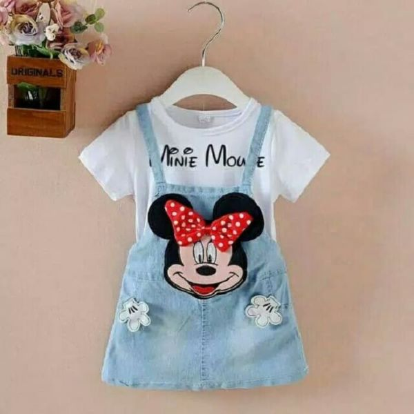Setelan Baju Kodok Overall Minnie Mouse Anak Cewek