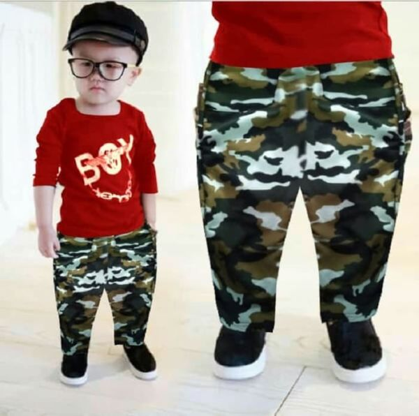 Setelan Baju dan Celana Panjang Anak Cowok Motif Army