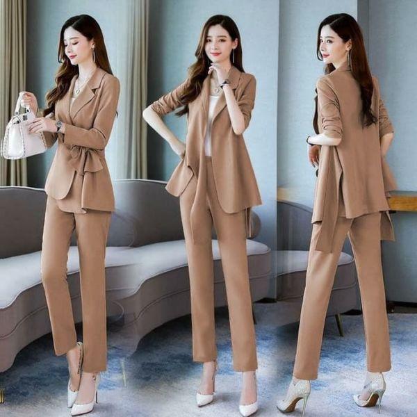 Setelan Blazer Korea dan Celana Panjang Wanita