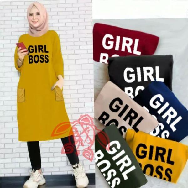Baju Atasan Wanita Tunik Lengan Panjang Muslim