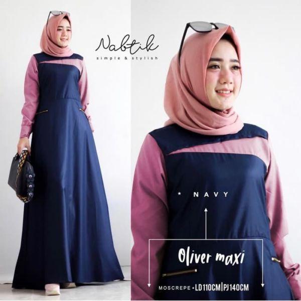 Baju Long Dress Gamis Simple Kombinasi Warna