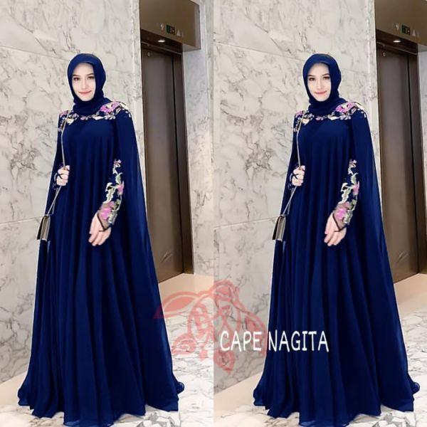 Baju Long Dress Muslim Gamis Cape Kaftan Bordir
