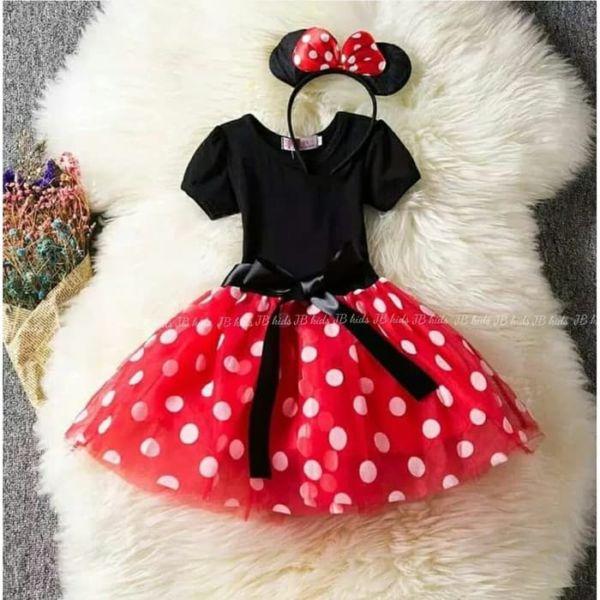 Baju Mini Dress Pendek Anak Motif Polkadot Cantik