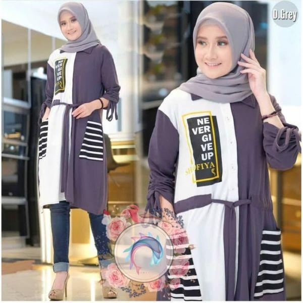 Baju Tunik Atasan Muslim Modern Trendy Masa Kini