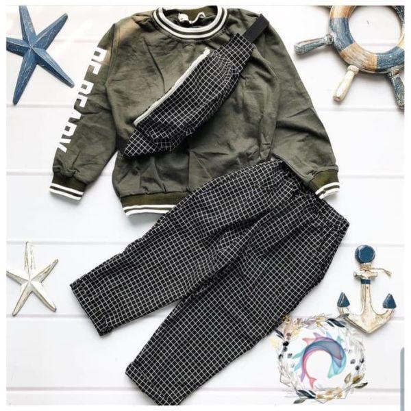 Setelan 3 in 1 Baju Celana Panjang dan Tas Anak Cowok