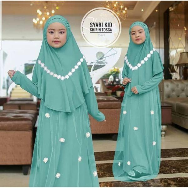 Setelan Baju Gamis Tile Tutu dan Jilbab Anak Cantik