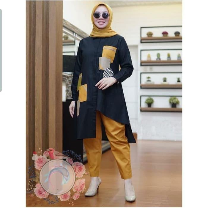 Setelan Baju Muslim Wanita Tunik dan Celana Panjang | RYN ...