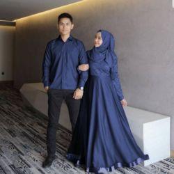 Baju Couple Gamis Brukat Tille dan Kemeja Modern